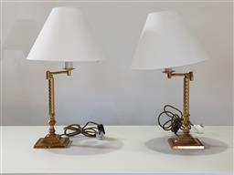 Sale 9240 - Lot 1050 - Pair of brass table lamps with articulated arms (h:65cm)
