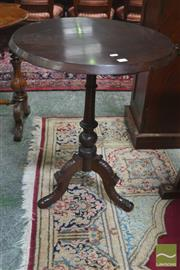 Sale 8291 - Lot 1029 - Victorian Walnut Round Occasional Table, on turned pedestal & three carved legs