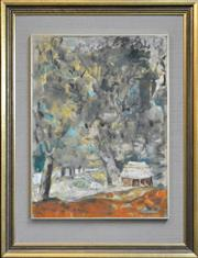 Sale 8309 - Lot 534 - Judy Cassab (1920 - 2015) - The Tree House 50 x 37cm