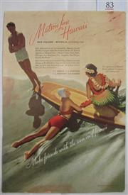 Sale 8431B - Lot 83 - Illustration of a Surfboard at edge of water. Page advertising Matson line to Hawaii in National Geographic November 1937