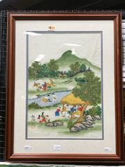 Sale 8659 - Lot 2149 - Chinese School - Daily Living Scene watercolour, 41 x 28.5cm, stamped and inscribed lower left