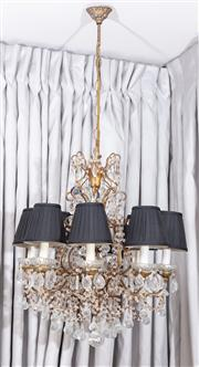 Sale 8703A - Lot 26 - An Italian Eight branch chandelier, with myriad of droplets and black pleated shades, drop height 60cm