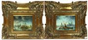Sale 8730B - Lot 18 - Pair of Signed Oils on Board depicting Pioneers 23cm x 18