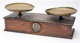 Sale 9135H - Lot 144 - An early set of European kitchen scales, width 46cm