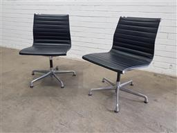Sale 9134 - Lot 1082 - Pair of Aluminium Group chairs by Eames (h:84 x w:50 x d:50cm)