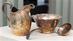 Sale 9162H - Lot 22 - Three pieces of silver plates wares including Hardy Bross jug, bottle coaster and ladle