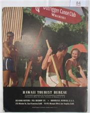 Sale 8431B - Lot 84 - Back cover, Hawaii Tourist Bureaus advertisement, showing Surfer with his Board in a booklet on Hawaii circa 1930s