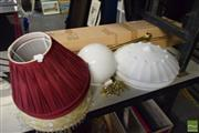 Sale 8530 - Lot 2153 - 2 Blinds, 4 Lamp Shades, Brass & Glass Light Fitting Plus a Glass Shade