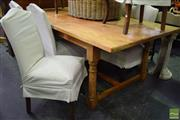 Sale 8550 - Lot 1509 - Rustic Farmhouse Pine Table and 8 Upholstered Chairs