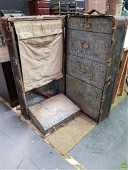 Sale 8611 - Lot 1026 - Metal Bound Nicely Fitted Travelling Trunk (H: 39 W: 100 D: 55cm)