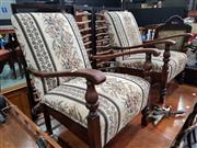 Sale 8724 - Lot 1051 - Pair of Oak Lounge Chairs