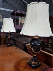Sale 8774 - Lot 1096 - Pair of Louis XVI Style Lamps Painted Metal Lamps, the black body (some losses) with gilt goats heads & festoons, having cream shades