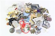 Sale 8952M - Lot 605 - A Collection Of Badges And Pins Incl A German Airforce Paperweight, And Dog Tags