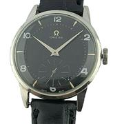 Sale 9015J - Lot 202 - Vintage mens large Omega c 1950s black dial manual wind wristwatch. 38 mm runs well