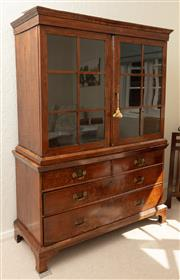 Sale 9066H - Lot 16 - A C18th continental walnut veneered display cabinet with two short and two long drawers raised on bracket feet, glazed doors opening...