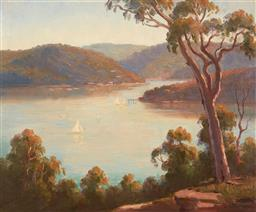 Sale 9125 - Lot 501 - Erik Langker (1898 - 1982) Sail Boats on the Hawkesbury oil on board 35.5 x 43 cm (frame: 51 x 58 x 3 cm) signed lower right