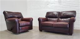Sale 9108 - Lot 1014 - Moran leather two seater lounge & lazyboy armchair (h93 x w155 x 104cm)