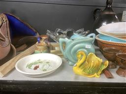 Sale 9106 - Lot 2459 - Sundries incl. Australian Pottery (Diana & Others), 2 Miniature Pandscape Paintings, French Glass Bowl, etc