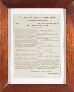 Sale 9130E - Lot 40 - A framed letter of the NSW government order for the issue of convicts clothing 1831 by command of his excellency the governor, Alexa...