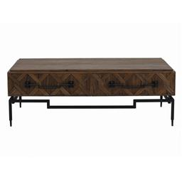 Sale 9245T - Lot 25 - A reclaimed Oriental influenced design timber coffee table, with parquet style drawer fronts, with iron base and handles. Dimensions...