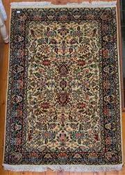 Sale 8270 - Lot 24 - A Kashmiri silk rug, with cream ground with floral motif, 150 x 100cm