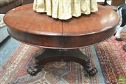 Sale 8291 - Lot 1075 - Unusual Mid 19th Century Mahogany Split Pedestal Dining Table, the round top with single leaf, above turned reeded pedestal on quadr...