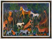 Sale 8325 - Lot 511 - Perle Hessing (1908 - ) - Animals at Dawn 54 x 74cm