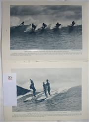 Sale 8431B - Lot 85 - Pictorial 8 pages of Surfing Pictures of Hawaii, in a article by Amelia Earhart on My Flight from Hawaii in National Geographic Maga...