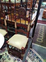 Sale 8566 - Lot 1304 - Pair of Red and White Painted Dining Chairs with Leather Upholstered Seats