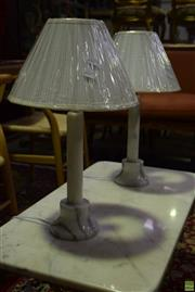 Sale 8566 - Lot 1748 - Pair of White Italian Marble Table Lamps (2100)