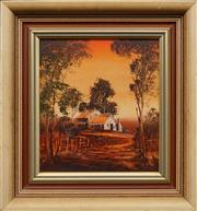 Sale 8659 - Lot 2124A - Artist Unknown Cottage in Rural Landscape acrylic on board, 38.5 x 35.5cm, signed lower right