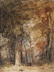 Sale 8992 - Lot 554 - Attributed John Skinner Prout (1805 - 1879) - Old Park Trail 28 x 21 cm
