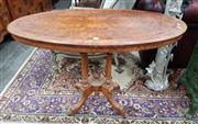 Sale 8939 - Lot 1009 - Victorian Burr Walnut Oval Occasional Table, with yewwood banding, over a birdcage base. H: 71 W: 106 D: 60cm
