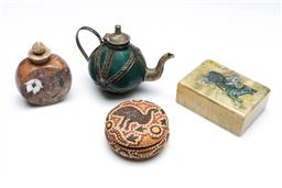Sale 9098 - Lot 47 - A Collection of Wares inc Aboriginal Lidded Box, A Soapstone Example and  Small Teapot