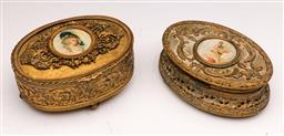 Sale 9104 - Lot 65 - A matched pair of brass Victorian lidded jewellery boxes