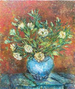 Sale 9103 - Lot 2020 - Artist Unknown White Carnations acrylic on canvas, 92 x 76cm, unsigned