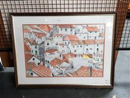 Sale 9127 - Lot 2064 - Charles Newman Rooftop Village Scene watercolour, frame: 50 x 67 cm, signed lower right -