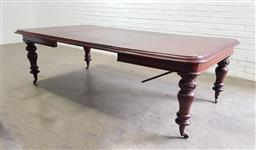 Sale 9142 - Lot 1010 - Victorian Mahogany Extension Dining Table, with two leaves & turned legs - crank in office (h:73 x w:240 x d:129cm)