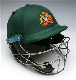 Sale 9144 - Lot 225 - Authentic Australian Cricket helmet, used and played in by Pat Cummins