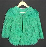 Sale 7982B - Lot 126 - Trelise Cooper, sequinned emerald frou frou cocktail jacket