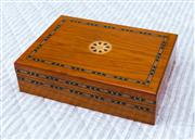 Sale 8270 - Lot 29 - An inlaid jewellery box, compartment fitted interior with a mirror to the lid, H 6.5 x W 25 x D 18cm