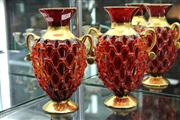 Sale 8276 - Lot 29 - Red Glass Pair of Vases