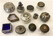 Sale 8436A - Lot 46 - A group of mainly metal pill boxes including pewter together with silver topped glass jars. (12)