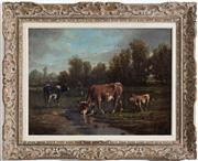 Sale 8530A - Lot 47 - Artist Unknown, French School late C19th - Cattle in a French landscape 49 x 65 cm