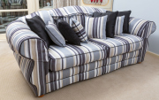 Sale 8677B - Lot 805 - A striped two seater lounge and matching black silk scatter cushions , L x 210cm, D x approx92 H x 88cm