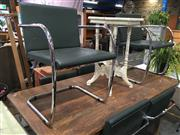 Sale 8782 - Lot 1325 - Set of 6 Chrome and Leather Cantilever Chairs