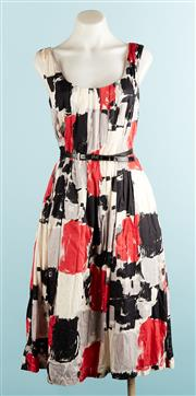 Sale 9071F - Lot 5 - A VERONNIKA MAINE RUCHED A-LINE DRESS; in a red, black and cream chequered pattern, with thin waist belt, size 8