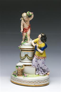 Sale 9098 - Lot 235 - Early 20th Century German Porcelain Figurine Depicting Putti and Nymph (H29.5cm)