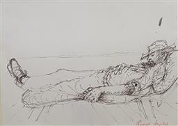 Sale 9123J - Lot 153 - Russell Drysdale Sleeping Stockman ink on paper 16x22cm signed lower right