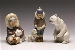 Sale 9136 - Lot 202 - A Lladro Inuits together with A polar bear example (H 12cm)